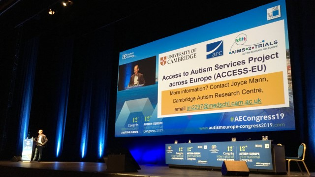 Simon Baron-Cohen at AECongress19 discussing ACCESS-EU (photo credit: Guillaume Dumas)